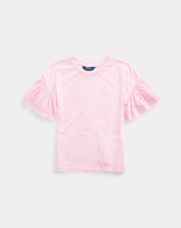 폴로 랄프로렌 걸즈 탑 Polo Ralph Lauren Eyelet Cotton-Modal Top,Carmel Pink