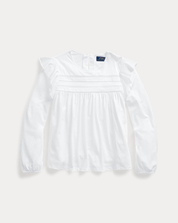 폴로 랄프로렌 걸즈 탑 Polo Ralph Lauren Lace-Trim Cotton-Modal Top,White