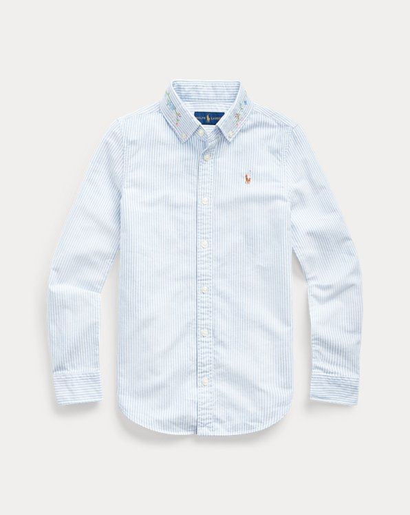 폴로 랄프로렌 걸즈 셔츠 Polo Ralph Lauren Floral Cotton Oxford Shirt,Blue-white