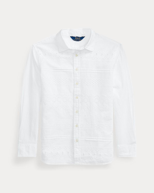 폴로 랄프로렌 걸즈 튜닉 Polo Ralph Lauren Eyelet Cotton Broadcloth Tunic,White