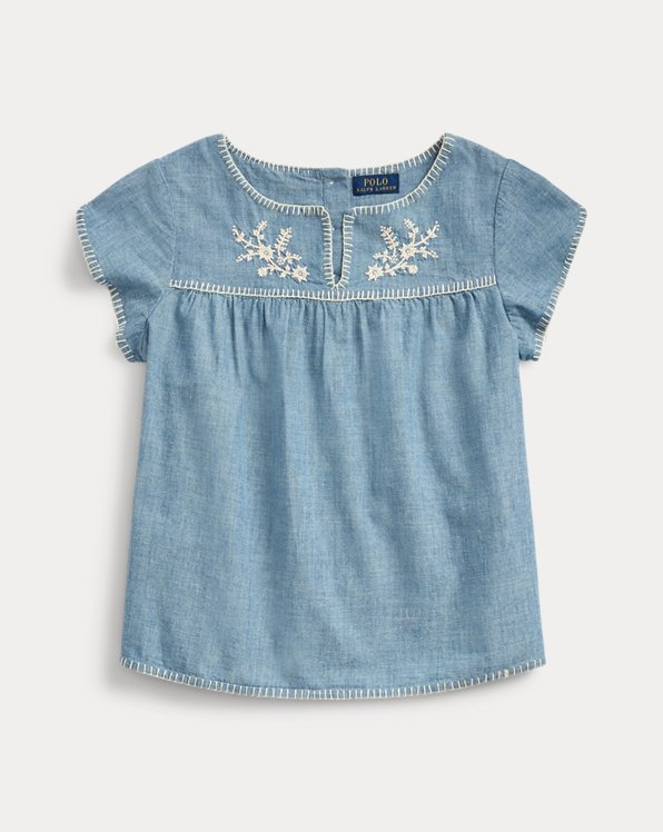 폴로 랄프로렌 걸즈 탑 Polo Ralph Lauren Embroidered Chambray Top,Indigo