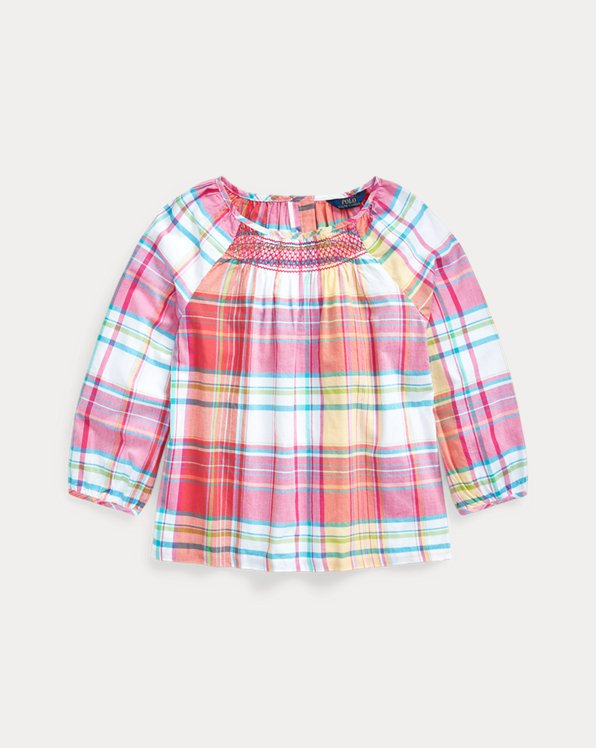 폴로 랄프로렌 걸즈 탑 Polo Ralph Lauren Smocked Cotton Madras Top,Pink White Multi