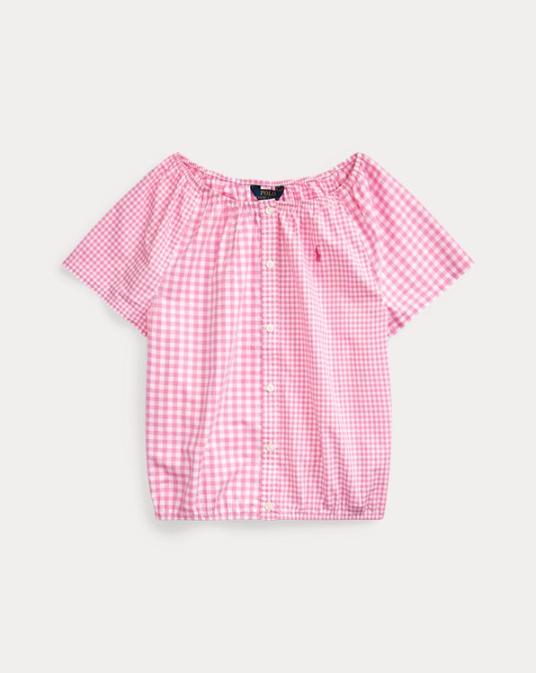 폴로 랄프로렌 걸즈 탑 Polo Ralph Lauren Mixed-Gingham Cotton Top,Pink Multi