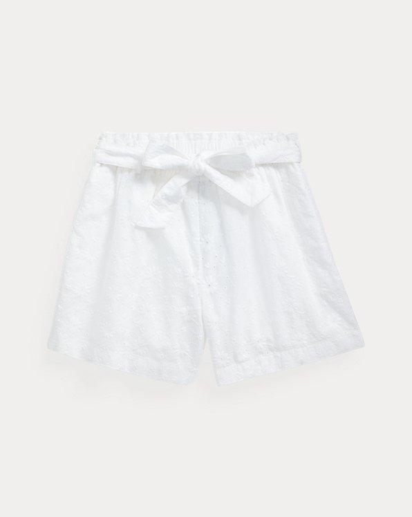 폴로 랄프로렌 걸즈 반바지 Polo Ralph Lauren Eyelet Cotton Paperbag Short,White