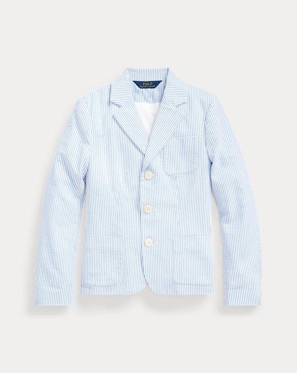 폴로 랄프로렌 걸즈 자켓 Polo Ralph Lauren Seersucker Cotton Blazer,Blue Multi