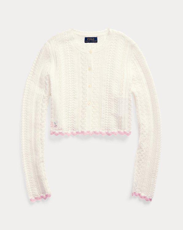 폴로 랄프로렌 걸즈 가디건 Polo Ralph Lauren Cropped Cotton Cardigan,Trophy Cream