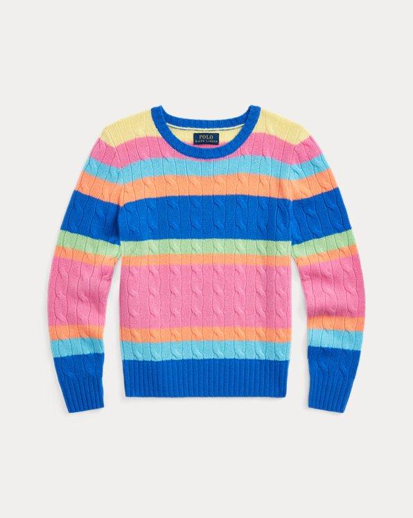 폴로 랄프로렌 걸즈 스웨터 Polo Ralph Lauren Striped Cashmere Sweater,Pink Multi