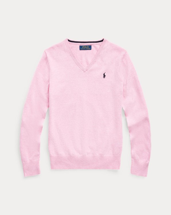 폴로 랄프로렌 보이즈 스웨터 Polo Ralph Lauren Cotton V-Neck Sweater,Hampton Pink Heather