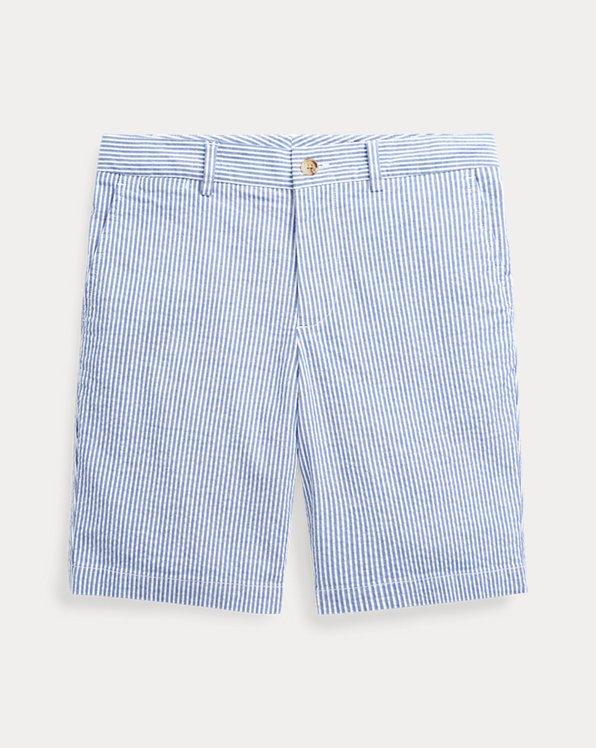 폴로 랄프로렌 보이즈 반바지 Polo Ralph Lauren Slim Stretch Seersucker Short,White/Provincetown Blue