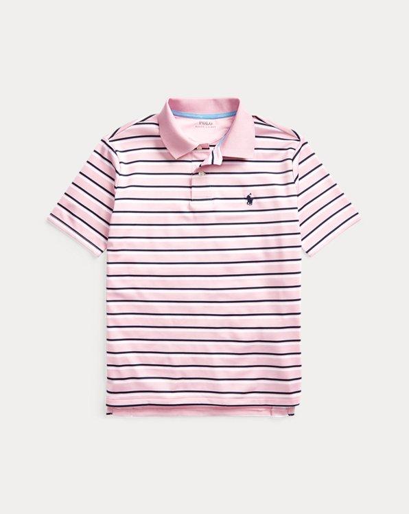 폴로 랄프로렌 보이즈 셔츠 Polo Ralph Lauren Striped Performance Polo Shirt,Carmel Pink Multi