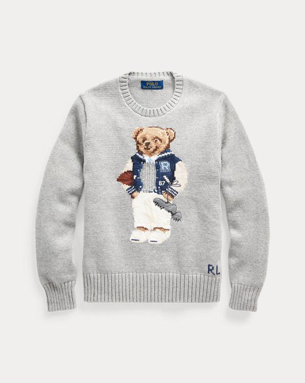 폴로 랄프로렌 보이즈 스웨터 Polo Ralph Lauren Football Bear Cotton Sweater,Andover Heather