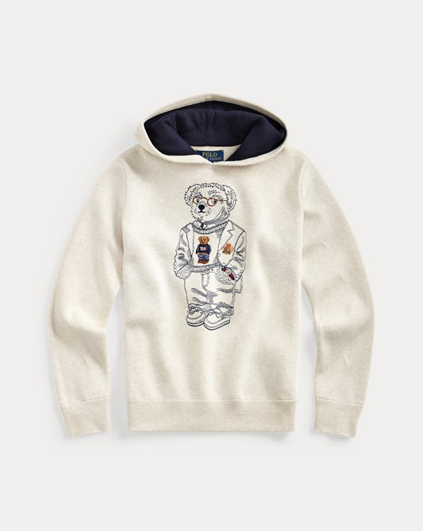 폴로 랄프로렌 보이즈 스웨터 Polo Ralph Lauren Bear Cotton Hooded Sweater,New Sand Heather