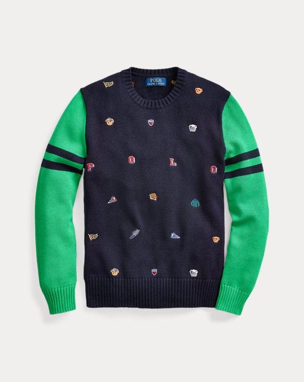 폴로 랄프로렌 보이즈 스웨터 Polo Ralph Lauren Embroidered Cotton Sweater,RL Navy