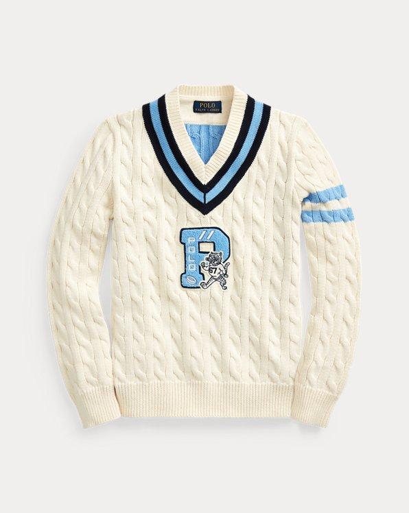 폴로 랄프로렌 보이즈 스웨터 Polo Ralph Lauren Cotton-Blend Cricket Sweater,Guide Cream Multi
