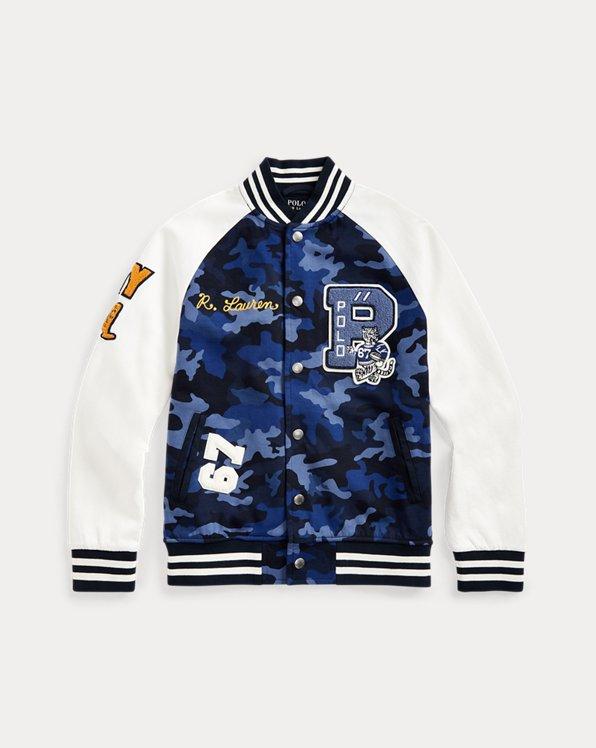 폴로 랄프로렌 보이즈 자켓 Polo Ralph Lauren Camo Letterman Jacket,Blue Camo