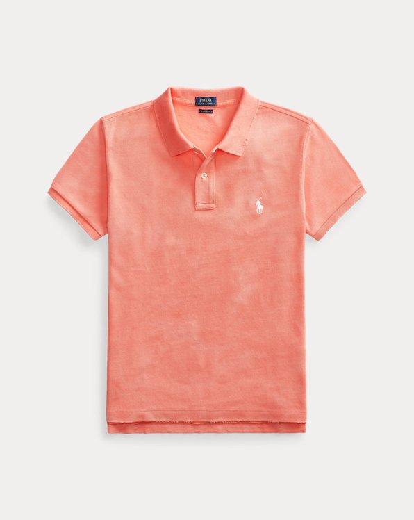 폴로 랄프로렌 Polo Ralph Lauren Classic Fit Frayed Polo Shirt,Amalfi Red/White