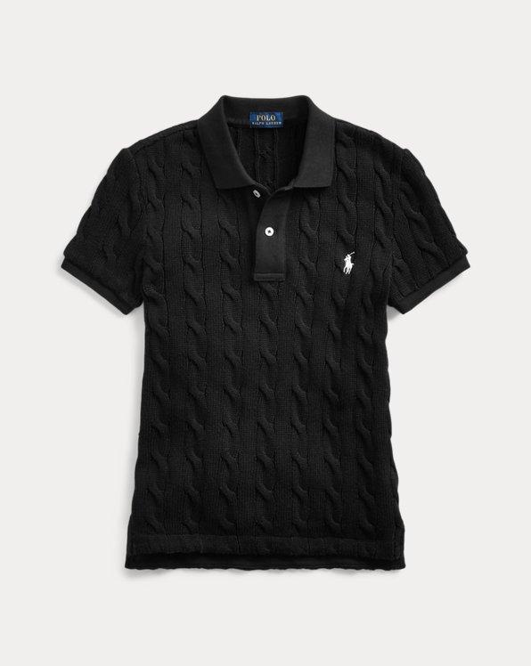 폴로 랄프로렌 Polo Ralph Lauren Cable-Knit Polo Shirt,Polo Black