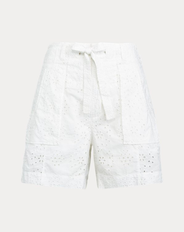 폴로 랄프로렌 우먼 코튼 반바지 Polo Ralph Lauren Eyelet Cotton Short,White Eyelet
