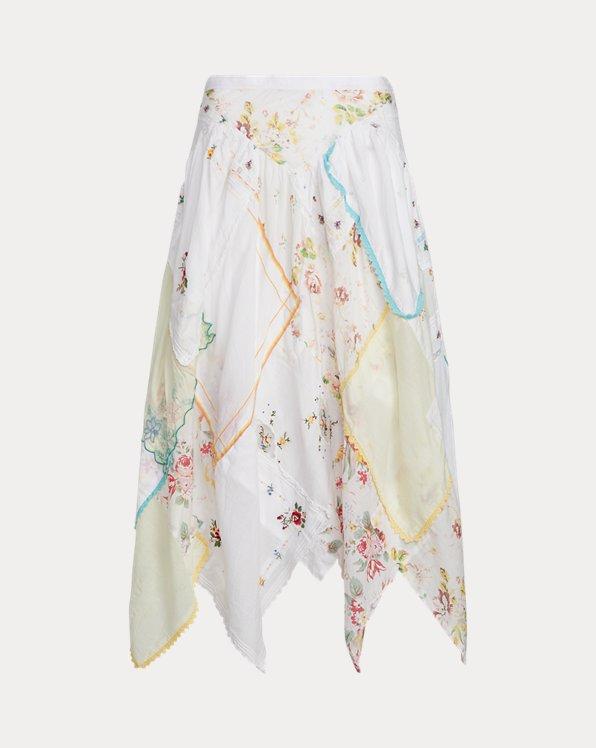 폴로 랄프로렌 Polo Ralph Lauren Quilted Handkerchief Skirt,White Patchwork