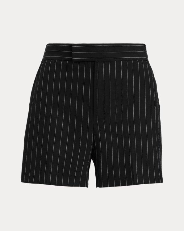 폴로 랄프로렌 우먼 린넨 반바지 Polo Ralph Lauren Pinstripe Linen Short,Black/Cream Stripe