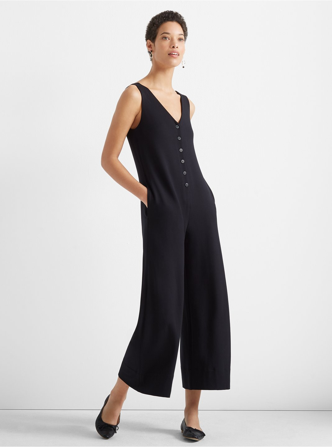 클럽 모나코 Club Monaco A-Line Knit Jumpsuit,Black
