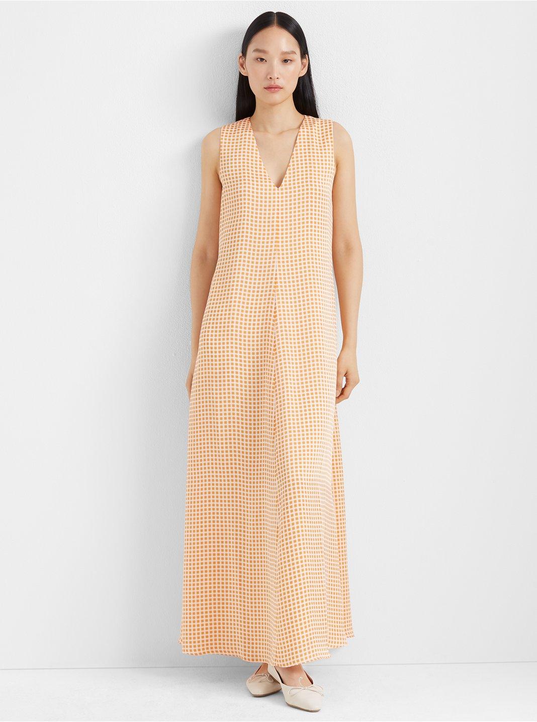 클럽 모나코 Club Monaco Soft Swing Dress,Orange Multi