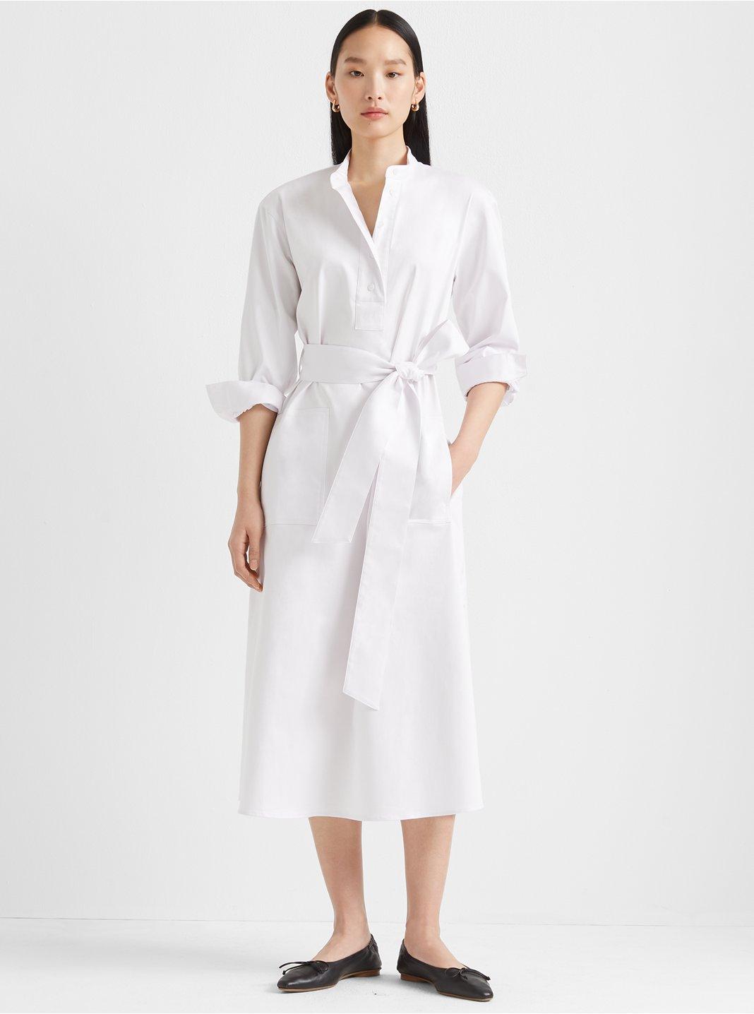 클럽 모나코 Club Monaco Half-Placket Tunic Dress,White