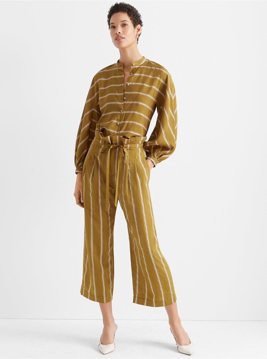 클럽 모나코 Club Monaco Anreannah Stripe Pant,Green Multi