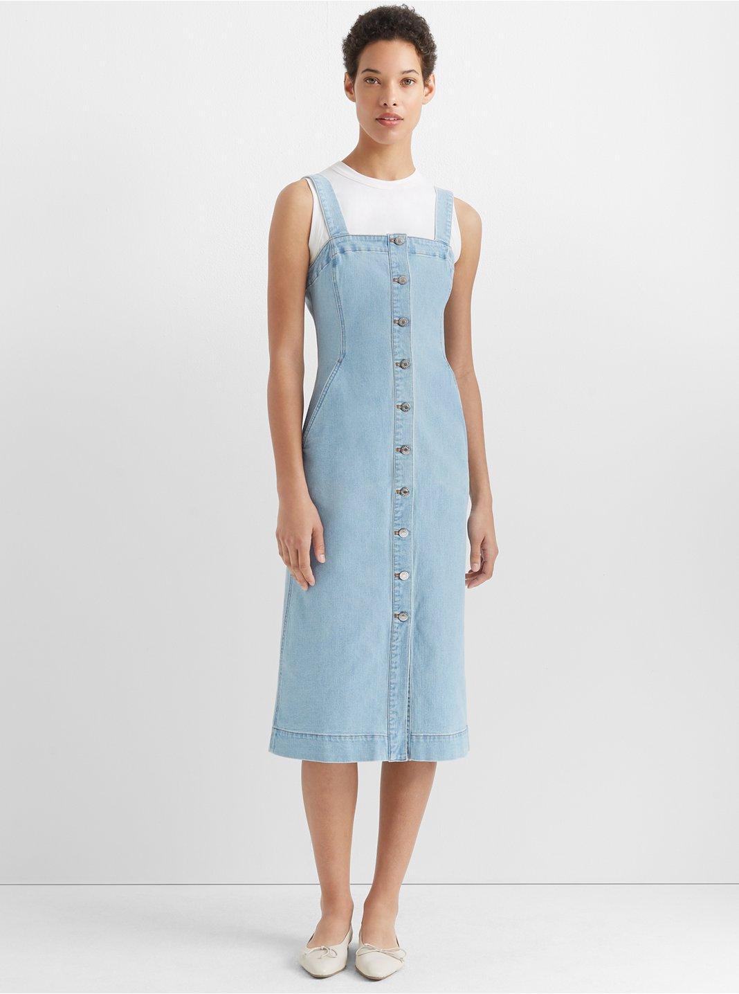 클럽 모나코 Club Monaco Denim Button Front Dress,Light Wash Denim