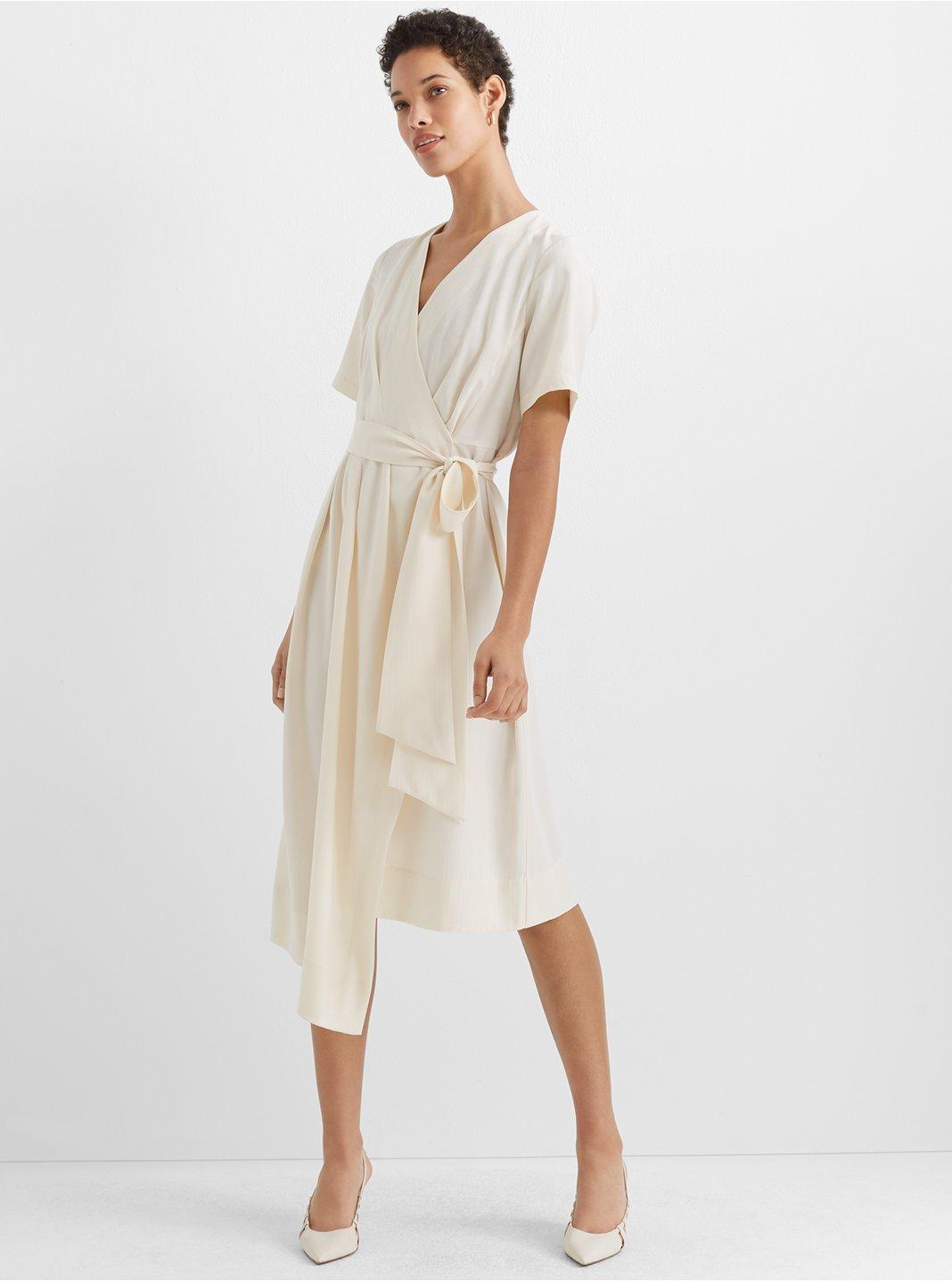 클럽 모나코 Club Monaco Asymmetrical Wrap Dress,Blanc De Blanc