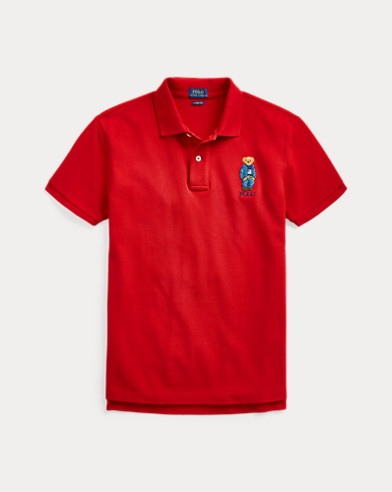 폴로 랄프로렌 우먼 폴로 셔츠 Polo Ralph Lauren Classic Fit Bear Polo Shirt,Red