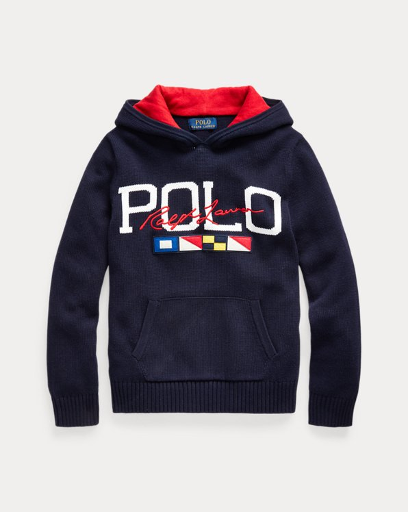 폴로 랄프로렌 보이즈 스웨터 Polo Ralph Lauren Logo Cotton Hooded Sweater,RL Navy