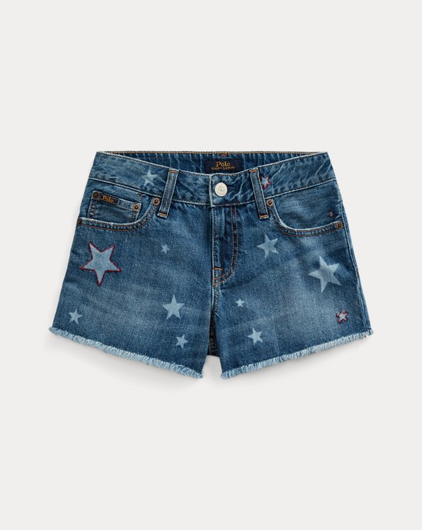 폴로 랄프로렌 걸즈 청반바지 Polo Ralph Lauren Star Cotton Denim Short,Messing Wash