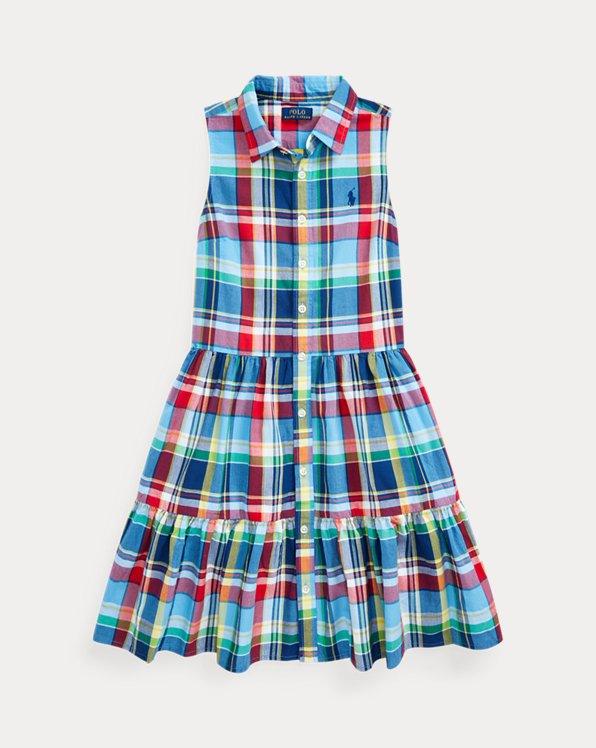 폴로 랄프로렌 걸즈 셔츠원피스 Polo Ralph Lauren Cotton Madras Shirtdress,Blue Red Multi