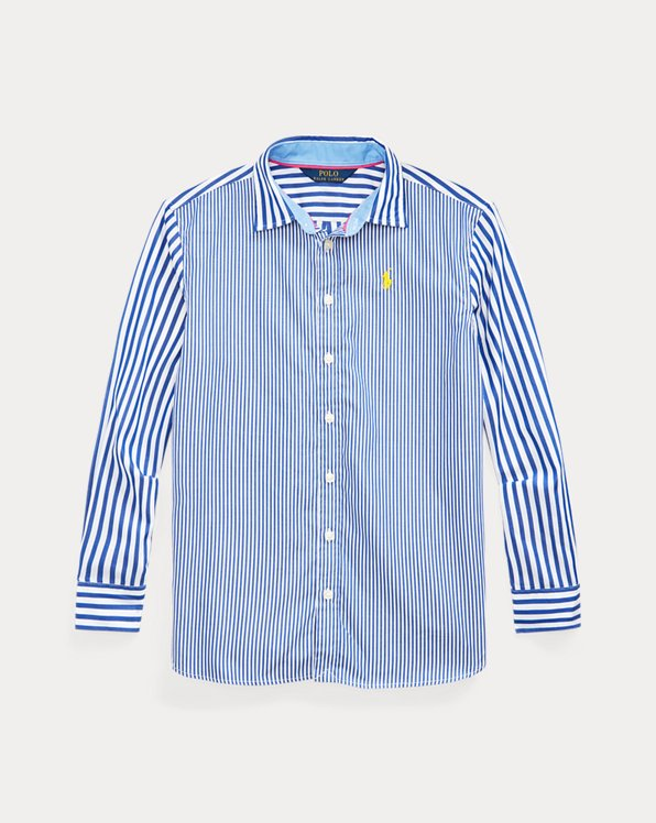 폴로 랄프로렌 걸즈 셔츠 Polo Ralph Lauren Bengal-Stripe Poplin Shirt,Blue Multi