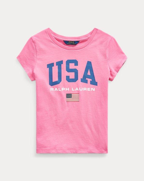 폴로 랄프로렌 걸즈 티셔츠 Polo Ralph Lauren Cotton Jersey Graphic Tee,Baja Pink