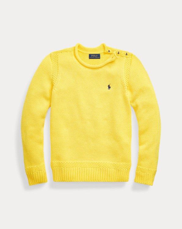 폴로 랄프로렌 걸즈 스웨터 Polo Ralph Lauren Cotton-Blend Rollneck Sweater,Lemon Rind