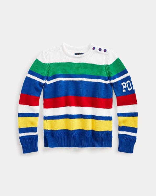 폴로 랄프로렌 걸즈 스웨터 Polo Ralph Lauren Striped Cotton-Blend Sweater,White Multi