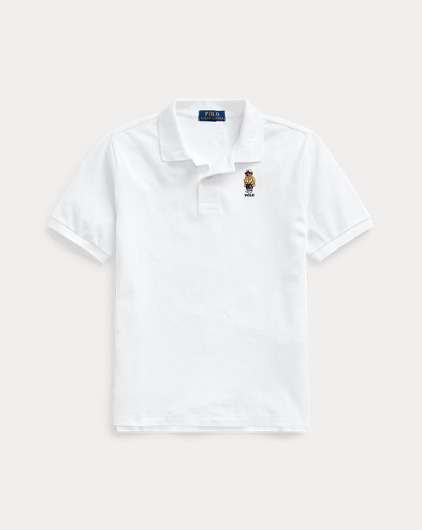 폴로 랄프로렌 보이즈 폴로 셔츠 Polo Ralph Lauren CP-93 Bear Cotton Mesh Polo,White