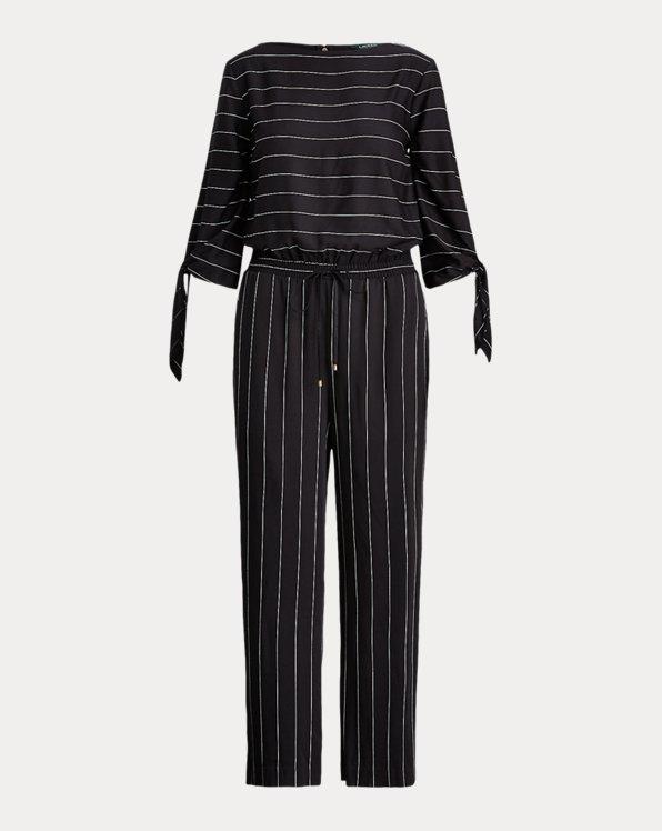 폴로 랄프로렌 Polo Ralph Lauren Cold-Shoulder Twill Jumpsuit,Polo Black/Cream