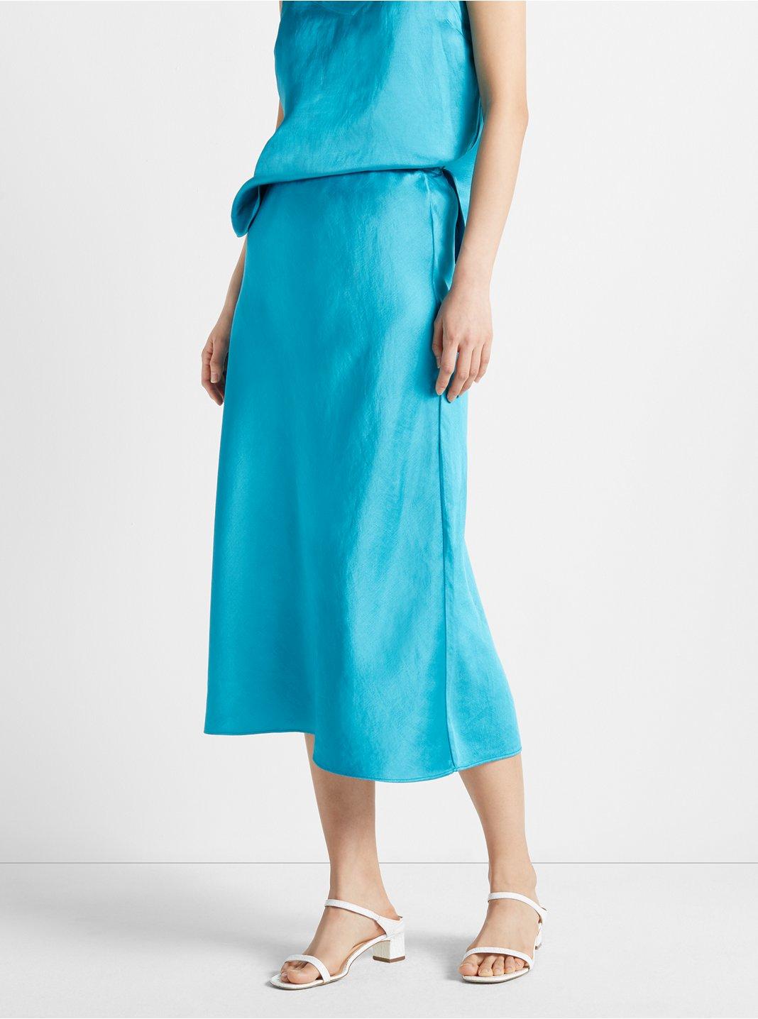 클럽 모나코 미디 스커트 Club Monaco Bias Midi Skirt,Turq/Green