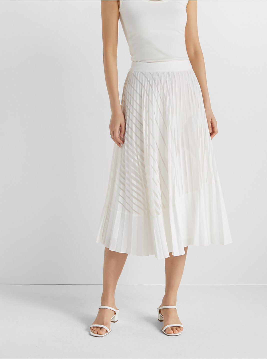 클럽 모나코 번아웃 주름 스커트 Club Monaco Burnout Pleated Skirt,White Combo