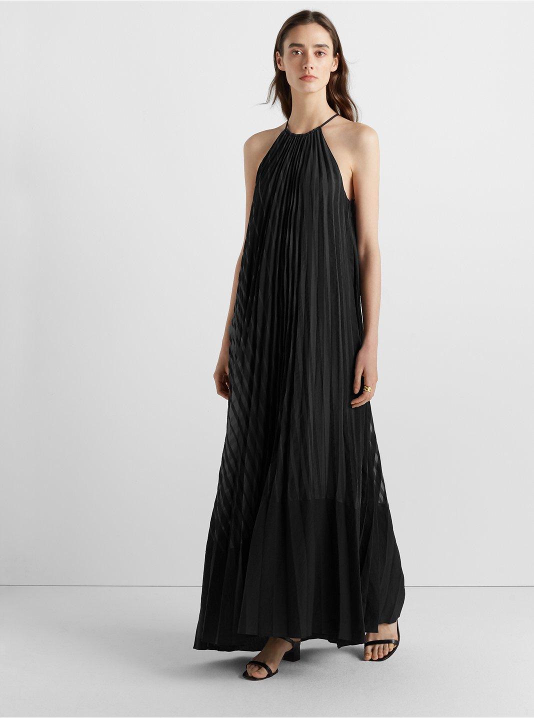 클럽 모나코 플리스 맥시 원피스 Club Monaco Burnout Pleated Maxi Dress,Black