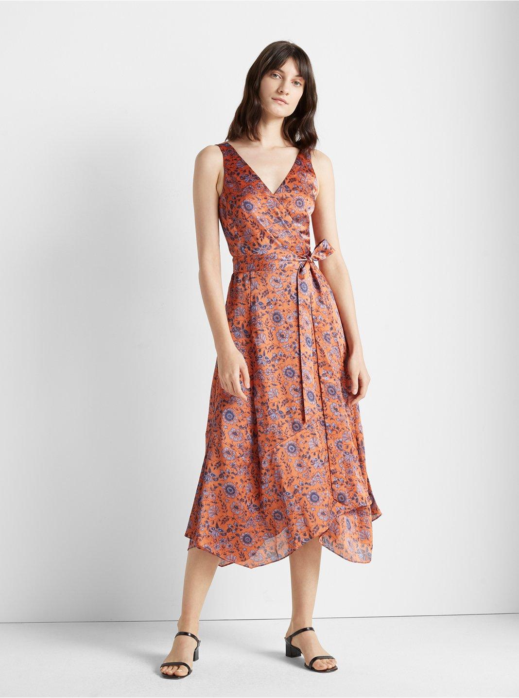 클럽 모나코 플로럴 프린트 랩 원피스, 100% 실크 Club Monaco Printed Wrap Dress, Orange Multi