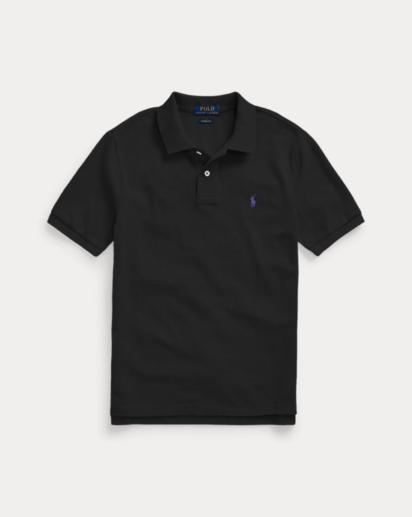 폴로 랄프로렌 보이즈 폴로 셔츠 Polo Ralph Lauren Custom Fit Cotton Mesh Polo,Black