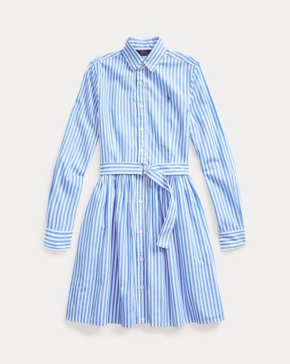 폴로 랄프로렌 걸즈 셔츠원피스 Polo Ralph Lauren Striped Cotton Shirtdress,Blue Multi
