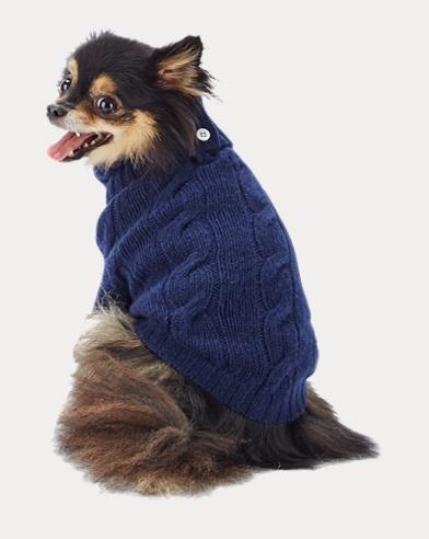 폴로 랄프로렌 강아지 꽈배기 캐시미어 스웨터 - 네이비 Polo Ralph Lauren Cashmere Dog Sweater,Navy