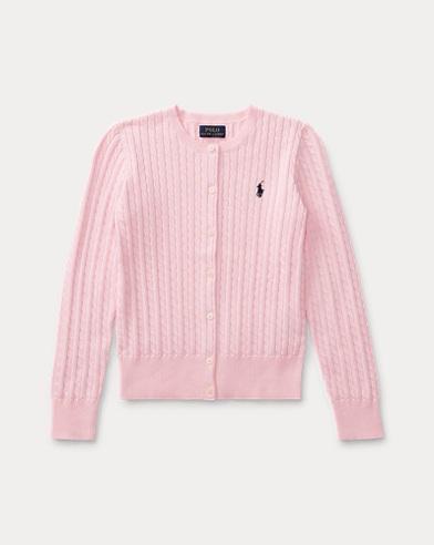 폴로 랄프로렌 Polo Ralph Lauren Cable-Knit Cotton Cardigan,Pink
