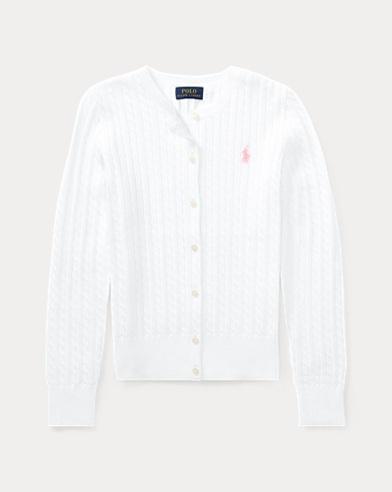 폴로 랄프로렌 Polo Ralph Lauren Cable-Knit Cotton Cardigan,White