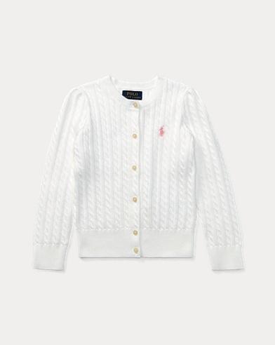 폴로 랄프로렌 Polo Ralph Lauren Mini-Cable Cotton Cardigan,White